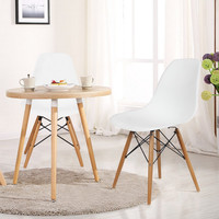 Modern Dining Chairs with Birch Wood Legs (Set of Two) White