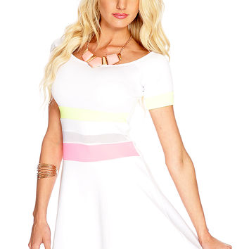 White Neon Yellow Mesh Cut Out A-Line Dress