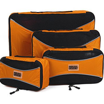 Pro Packing Cubes - 4 Piece Lightweight Travel Packing Cubes Set - Organizers and Compression Pouches for Carry-on Luggage Accessories, Suitcase and Backpacking (Sunset Orange)