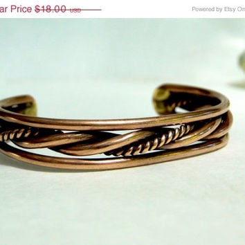 On SALE Copper Bracelet Twisted Copper Cuff