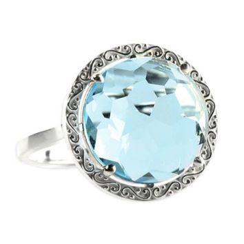 Suzanne Kalan Sterling Silver 12mm Round-Cut Blue Topaz Filigree Bezel Ladies' Ring