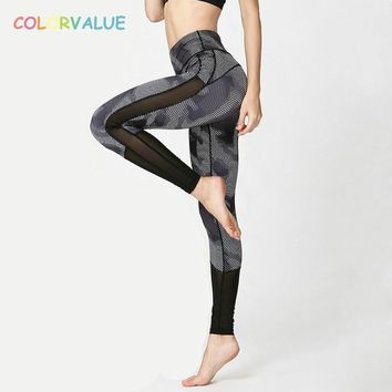 Colorvalue Camo Printed Dance Sport Tights Women Sexy Mesh High Waist Yoga Pants Geometry Printed Fitness Workout Leggings