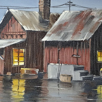 Original Painting Railroad Train Depot Leeville