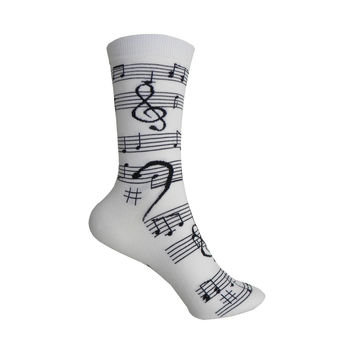 Music Notes Crew Socks in White and Black