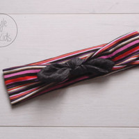 Striped Top Knot Headband with BLACK JEANS Bow Headband Knot Toddler Headband Head Wrap Baby Bow Headband Newborn Knot Headband