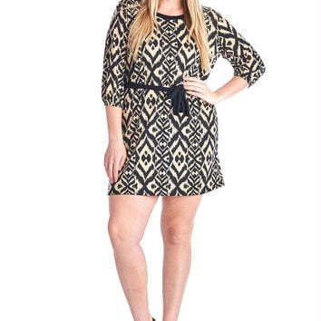 Women's Plus Size 3/4 Sleeve Printed Jersey Tie Waist Shirt Dress