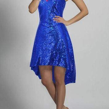 Royal Blue Sequin Rhinestone Irregular Bandeau Backless High-low Homecoming Party Midi Dress