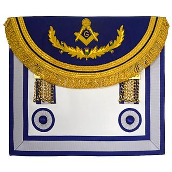Scottish Rite Master Mason Handmade Embroidery Apron - Light Blue with Vinework