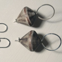 WHIRLIGIG Wooden earrings and sterling silver. hand forged. eco-friendly, circle pendant, minimal, design