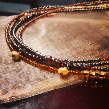 New price! TWO STRAND African waistbeads handmade layered golden fresh water pearls body jewelry belly chains waist beads