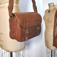 Ralph Lauren Leather Messenger Bag / brown tote purse