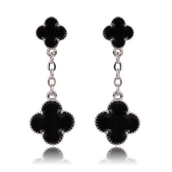 Beady Cleef Double Clover - Silver & Black