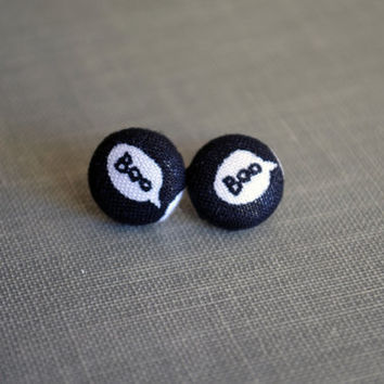 Holiday Fabric Button Earrings - Halloween Buttons - Boo Fabric - Halloween - Black & White Earrings - Words - Birthday - Cute Party Favors