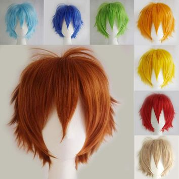20colors Women Anime Short Wig Cosplay Party Costume Heat Resistant Dress Wig