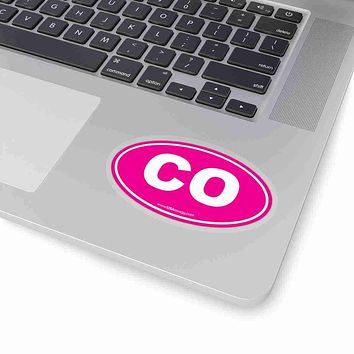 Colorado CO Euro Oval Sticker PINK SOLID