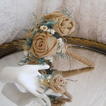 Burlap and Caspia Bridal Bouquet with Matching Boutonniere. Burlap roses, green caspia, everlasting flowers, wheat and twine. Ready to Ship!