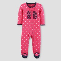 Baby Girls' Cotton Hearts Little Sister Sleep N' Play - Just One You™ Made by Carter's® Pink/Navy