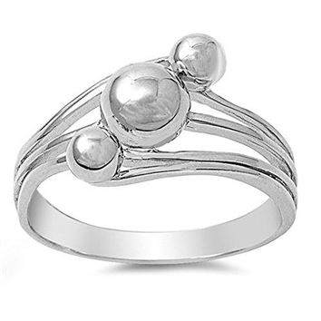 Ball Bead Round Nugget Wave Statement Ring 925 Sterling Silver Band Sizes 510