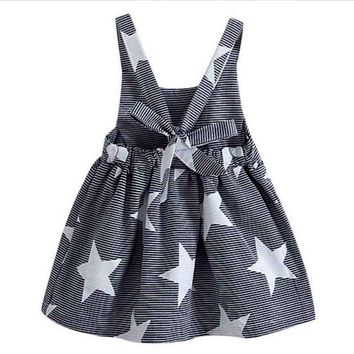 Kids Baby Girls Summer Dresses Toddlers Sleeveless Striped Star Print Bow-knot Backless Cute Princess Birthday Gift vestidos