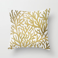 Gold Coral Throw Pillow by Cat Coquillette | Society6