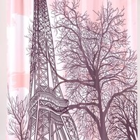 Tour Eiffel Print Fabric Shower Curtain