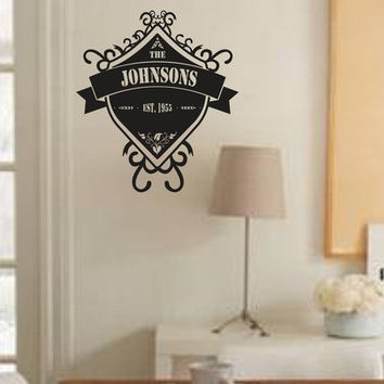 Custom Family Name Shield Decal Sticker Monogram Wall Mural