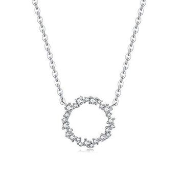 Sterling Silver Flower Infinity Circle Necklace - 925 Silver Circle of Life Simple Necklaces With Cubic Zirconia Stone For Women