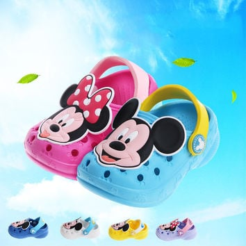 2016 Hot Kids Slippers Cute Mickey Baby Girls Boys Beach Clogs Sandals Breathable Children Slipper Shoes Colors