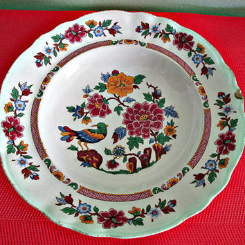 Vintage Retro Spanish Pontesa Chinamoda Ironstone Plate, Floral and Bird Pattern, Bowl, Cottage Chic