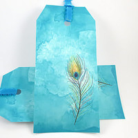 Gift Tags,  Peacock Feather, Gift tag, Turquoise Ribbon, Favor tag, hang tags, Custom Designed, Set of 6  Tag, Peacock