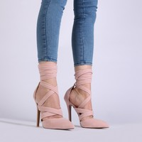 Blake High Heels in Dusky Pink Faux Suede