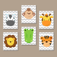 Animal JUNGLE Wall Art Nursery Canvas ZOO Artwork Child Boy Girl Giraffe Alligator Zebra Lion Monkey Tiger Set of 6 Prints Baby Decor