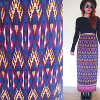 Vintage light fabric ethnic native tribal hippie boho bohemian highwaisted purple violet maxi skirt