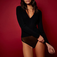 RI Studio black ribbed plunge bodysuit - bodysuits - tops - women