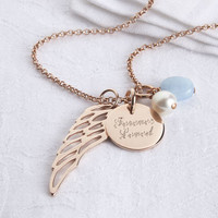 Personalised Rose Gold Angel Wing Necklace
