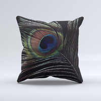Dark Peacock Spread Ink-Fuzed Decorative Throw Pillow