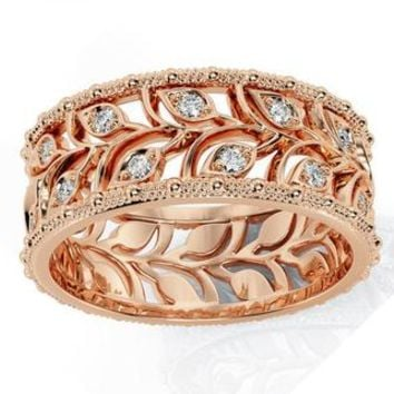 Rose gold Leaves Wedding Band Wide Band with Diamonds Leaf Floral Band Ring Birthday Gift Wedding Ring Band Milgrain