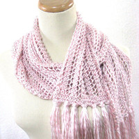 Silver Lined Pink Hand Knit Scarf Great for by ArlenesBoutique