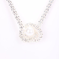 Silver High Polish Faux Pearl Accent Knot Design Thick Necklace