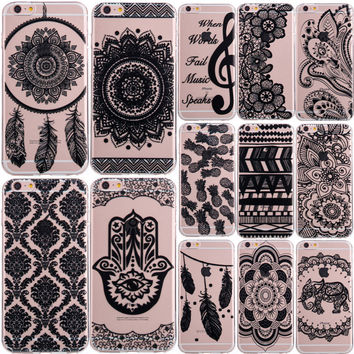 Clear Flower Pattern Phone Cases for iPhone 4 4S 5 5S SE 5C 6 6S 7 Plus Soft Silicon Vintage Black Cover Datura Paisley Mandala