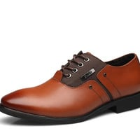 2017 Spring/Autumn fashion Italian designer formal mens dress wedding soft shoes Genuine leather Lace-Up Toe Casual for flats