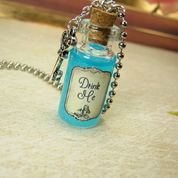 Drink Me 2ml Glass Vial Necklace - Glass Bottle Pendant - Alice in Wonderland - Through the Looking Glass - Halloween Drink Me Eat Me