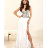 Terani 2014 Prom Dresses - Ivory Crystal & Chiffon Strapless Sweetheart Gown