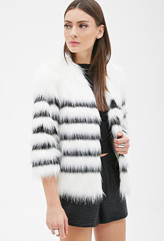 FOREVER 21 Striped Faux Fur Coat Winter from Forever 21 9c5e30fa17b63