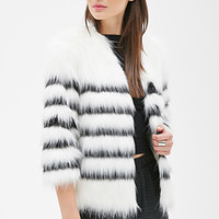 FOREVER 21 Striped Faux Fur Coat Winter White/Black
