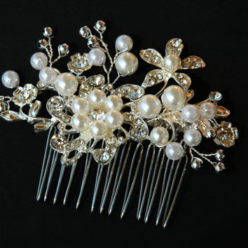 Wedding hair comb, Bridal hair comb, Pearl Hair Comb, Flower Hair Comb, Floral Hair Comb, Pearl Hair Accessories, Wedding hair piece