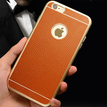 Leather iPhone6  case with Luxury Gold Edge Metal Frame Case + Business Men Leather Back Cover Bag For iPhone 6 Case 4.7 & Plus 5.5 Case
