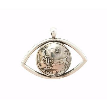 Courage Insight Necklace, lion jewelery, eye, coin jewelry, Sheqel, sterling silver