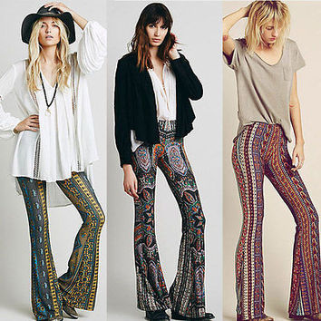 2015 Newly Hot Sale Boho Pants Bell Bottom Trousers Paisley Print Stretch Flare Boho Hippie Style Pants