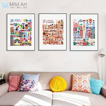 Colorful Travel World City London Landscape Posters Prints Nordic Style Living Room Wall Art Pictures Home Decor Canvas Painting